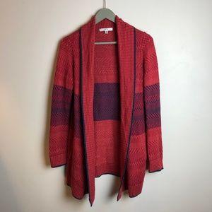 Cabi Red + Navy Stripe Cardigan, XS